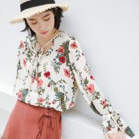 春季新品小清新印花百搭雪纺上衣女 韩版女装长袖2018新品 图片色 均码