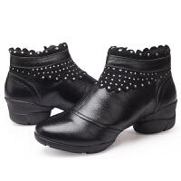 舞蹈鞋广场舞软底中帮女靴子单层女鞋皮鞋女 舞韩版休闲女鞋