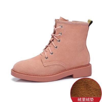 camel 骆驼女鞋秋冬新款平跟女靴子短靴女百搭英伦风加绒马丁靴