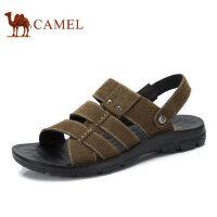 camel骆驼男鞋 2017夏季纯色真皮凉鞋 日常休闲百搭凉拖鞋沙滩鞋