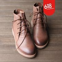 原创文艺复古头层牛皮真皮鞋森女系手工短靴女靴子显瘦系带皮鞋GH073