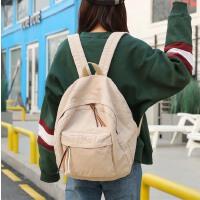 新款帆布纯色双肩包休闲简约水洗布中小学生书包校园背包