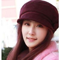 韩版显脸小贝雷帽 时装毛呢鸭舌帽盆帽 �c脸帽兔毛花女帽