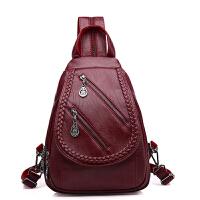 2018新款软皮包 韩版双肩包女休闲百搭夏季小背包多用胸包妈妈包 酒红色 质量通过国家验货