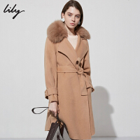 【25折到手价:699.75元】 Lily春秋新款女装全羊毛大衣狐狸毛领中长款外套118420F1568