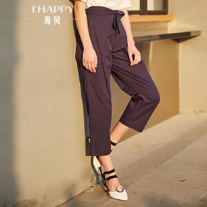 海贝2017年秋季新款女装 高腰系带纯色简约通勤九分裤
