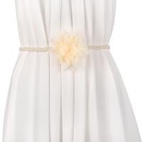 韩版时尚珍珠装饰细腰带女花朵大码配连衣裙皮草休闲百搭加长腰链