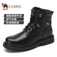 camel 骆驼男鞋男靴黑色皮靴短靴高帮皮鞋 秋季新品时尚工装鞋