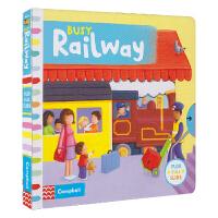 Busy Railway 忙碌系列纸板机关书 火车 机关操作书3-6岁 儿童英语互动故事绘本 英文原版图书