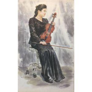 朝鲜水墨画 一级画家 郑永灿《拉小提琴的女孩》【大千艺术品】