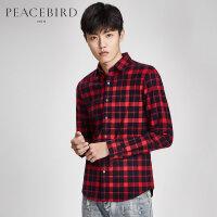 太平鸟男装 冬季新款男士黑红格子青年修身韩版潮流长袖衬衫衬衣