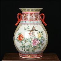 景德镇陶瓷器 厂货粉彩花鸟福桶花瓶 明清中式古典家居装饰摆件设