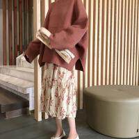 套装女春2019新款宽松纯色套头毛衣+百搭压褶碎花半身裙两件套装