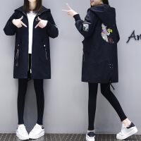 风衣女中长款韩版春季2018新款休闲港风风衣外套女小个子秋季外套 黑色