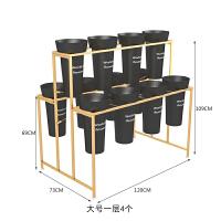 花桶架北欧金色落地花架鲜花展示架铁艺多层货架梯形架子塑料