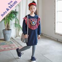 韩版秋季新款女童中长款拼接格子印花卫衣亲子装时髦卫衣