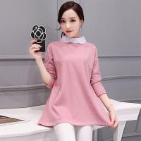 �莱2017春装新款韩版娃娃领中长款假两件衬衣女打底针织衫 黑色 均码