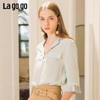 Lagogo/拉谷谷2019夏季新款百褶喇叭袖清新简约上衣女IASS433C19