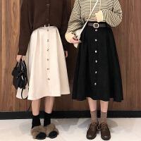 超火的半身裙秋冬女新款韩版高腰中长款A字裙仿鹿皮绒裙子