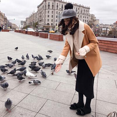 谜秀小个子毛呢外套女中长款2017秋冬装韩国ulzzang茧型呢子大衣修身时尚