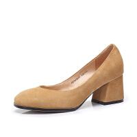 Camel/骆驼女鞋 2018春季新款 优雅摩登羊�S高跟女鞋方头单鞋