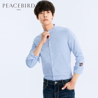 太平鸟男装 春装新款男士立领刺绣植绒长袖衬衣衬衫 B1CA71209