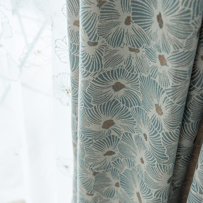 【人气】太阳花 高档加厚棉麻窗帘 提花美式简约现代客厅阳台卧室成品定制  每米单价(加工费另算)