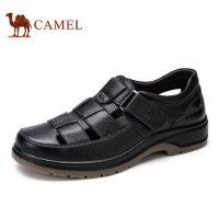 camel骆驼男鞋 夏季真皮镂空皮鞋 男透气休闲凉鞋牛皮中老年爸爸鞋