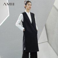 Amii[极简主义]2017秋新宽松V领垫肩暗扣插袋无袖连衣裙11780684