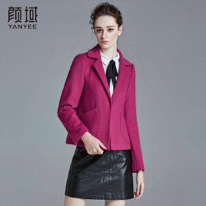 颜域品牌女装2017冬季新款纯色短款毛呢西装领宽松加厚短外套