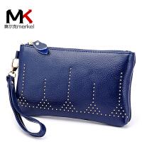 莫尔克(MERKEL)新款牛皮女款手拿包个性铆钉手机钱包手抓包软皮夹包女士拉链钱包
