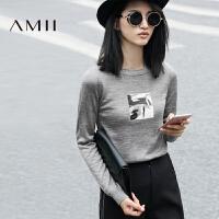 AMII[极简主义]秋冬女新款套头圆领休闲修身薄长袖打底毛衣