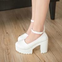 春秋新款女鞋浅口工作鞋时尚白色高跟鞋圆头百搭水台粗跟女单鞋