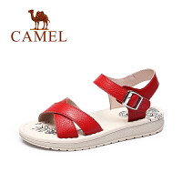 Camel/骆驼夏季新款柔软牛皮凉鞋简约舒适耐磨女鞋