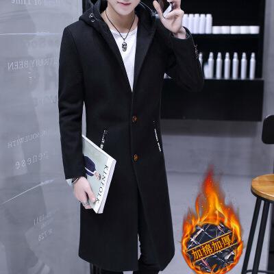 风衣男冬季中长款男士呢子外套韩版修身学生2018新款毛呢大衣过膝   本产品为促销产品,限购一件,未经过客服同意,私自大量下单的一律不发货,并且不作为