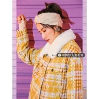 七格格仿皮草格子外套新款女冬季韩版宽松潮毛领加厚撞色大衣