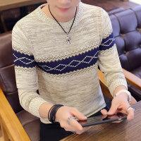 秋装T恤男士长袖个性潮流修身毛衣韩版圆领针织衫青年上衣服外套