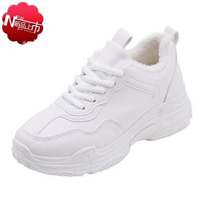 四季休闲运动鞋女生白色增高鞋子韩版10透气12波鞋女款小学生15岁初中生跑步少女孩大童女生显瘦运动鞋