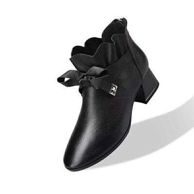 白色小短靴女秋冬单靴2019新款皮靴及踝靴中跟粗跟英伦马丁靴加绒 黑色 春秋款