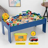 木制小火车轨道玩具套装游戏桌男女孩木质玩具套装