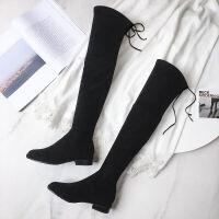 2019秋冬季新款小辣椒粗跟过膝长靴女士黑色平底低跟长筒靴子