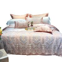 欧式简约粉色贡缎床上用品结婚庆四件套蕾丝双人被套