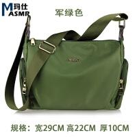 尼龙女包斜挎包 休闲包包 防水牛津布包背包帆布旅行单肩包潮 军绿色 包包可以洗水