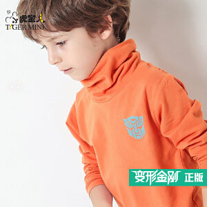 小虎宝儿童装变形金刚男童长袖T恤儿童高领打底衫 春秋纯棉中大童