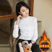 №【2019新款】冬天小姐姐穿的白色衬衫女长袖商务职业衬衣打底秋冬棉