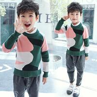 男童毛衣儿童针织衫套头圆领上衣中大童男童秋装线衣