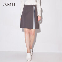 【品牌团 1件7折/2件5折】Amii[极简主义]2017秋新品条纹织带A字型半身裙 11764244