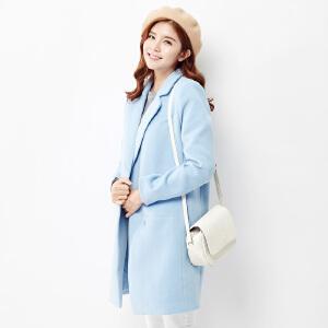 【2件3折价199.8元】唐狮秋冬新款外套女合体型素色中长款呢外套