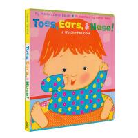 英文原版图书绘本卡伦卡茨 Toes, Ears, & Nose 脚趾耳朵和鼻子 启蒙翻翻书 凯伦卡茨 Karen Ka
