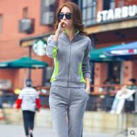 新款女装运动服 春季金丝天鹅绒运动休闲外套两件套女士大码套装卫衣